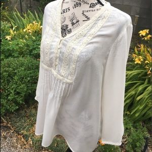 Lucky Brand Boho Cream Peasant Top